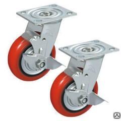 Колесо поворотное с боковым тормозом полиуретан/металл TOR (C550B/PU1540CB)